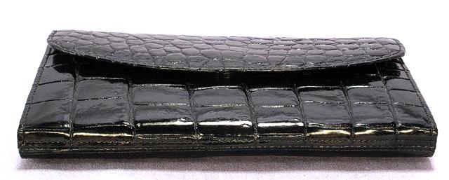 クロコダイル長財布(ツヤ・黒)