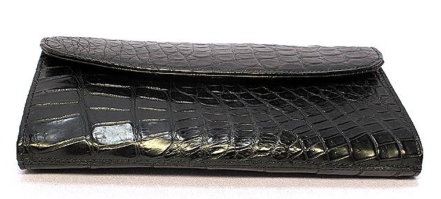 クロコダイル長財布・マット(黒)