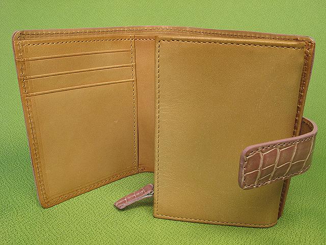 クロコダイル革二つ折り財布・レディース