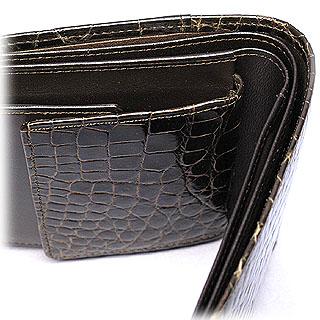 クロコダイル二つ折り財布(チョコ)