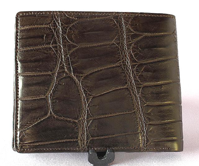 クロコダイル二つ折財布・Wカード札入(茶)MT