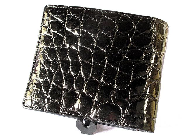 クロコダイル折り財布・札入Wカード(ツヤ・黒)