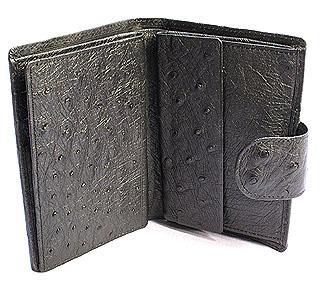 オーストリッチ・二つ折り財布ベロ付
