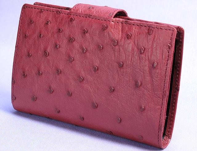 オーストリッチ・二つ折り財布ベロ付(カンパリ)