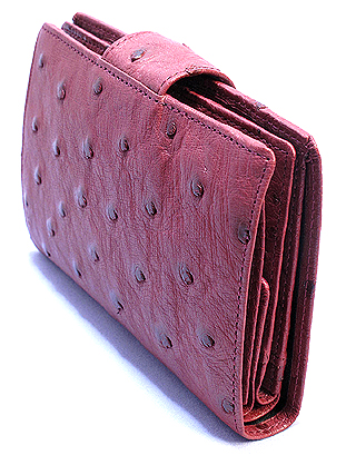 オーストリッチ二つ折り財布・ベロ付(カンパリ)