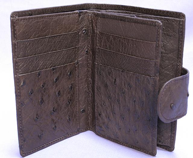 オーストリッチ・二つ折り財布ベロ付(ニコチン)