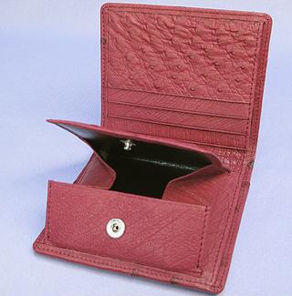 オーストリッチ二つ折り財布(カンパリ)