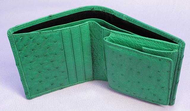 オーストリッチ二つ折り財布(グリーン)