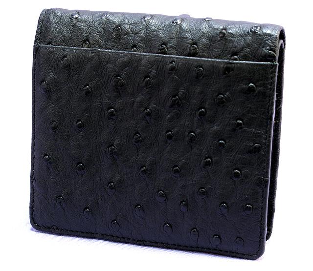 オーストリッチ二つ折り財布(クロ)