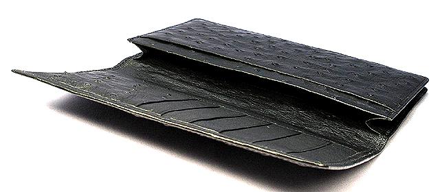オーストリッチ長財布・束入れ(黒)