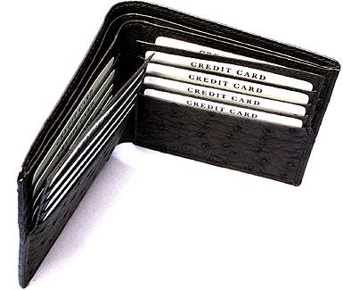 オーストリッチ二つ折り財布・Wカード札入れ(ニコチン)