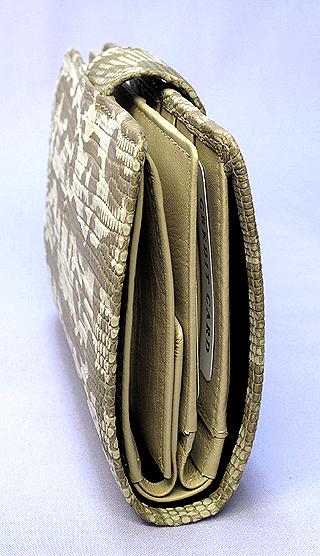 リザード二つ折り財布(ベージュ)