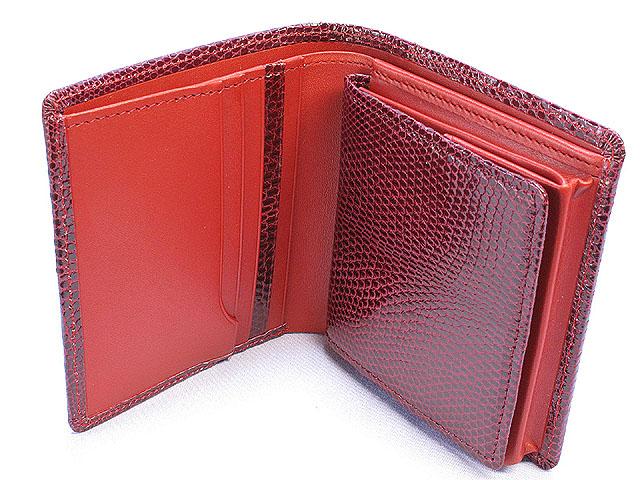 リザード・二つ折財布(赤)