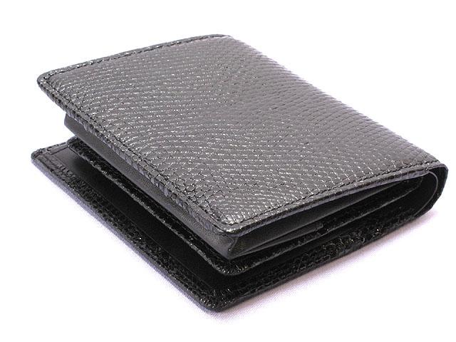 リザード財布・二つ折り(黒)