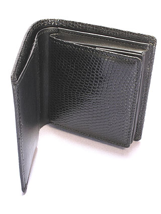 リザード・二つ折財布(黒)