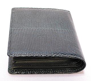 リザード二つ折り財布(ネイビーブルー)