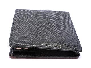 リザード二つ折り財布・Wカード&札入(黒)