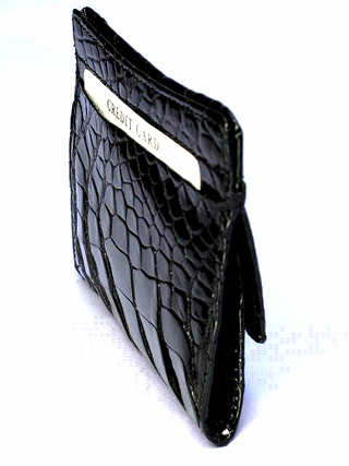 クロコダイル財布・角型ボックス小銭入れ(黒)