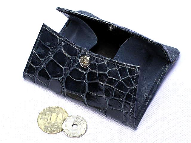 クロコダイル財布・角型ボックス小銭入れ(ブルーグレー)