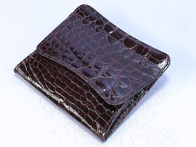 クロコダイル財布・角型ボックス小銭入れ(ワイン)